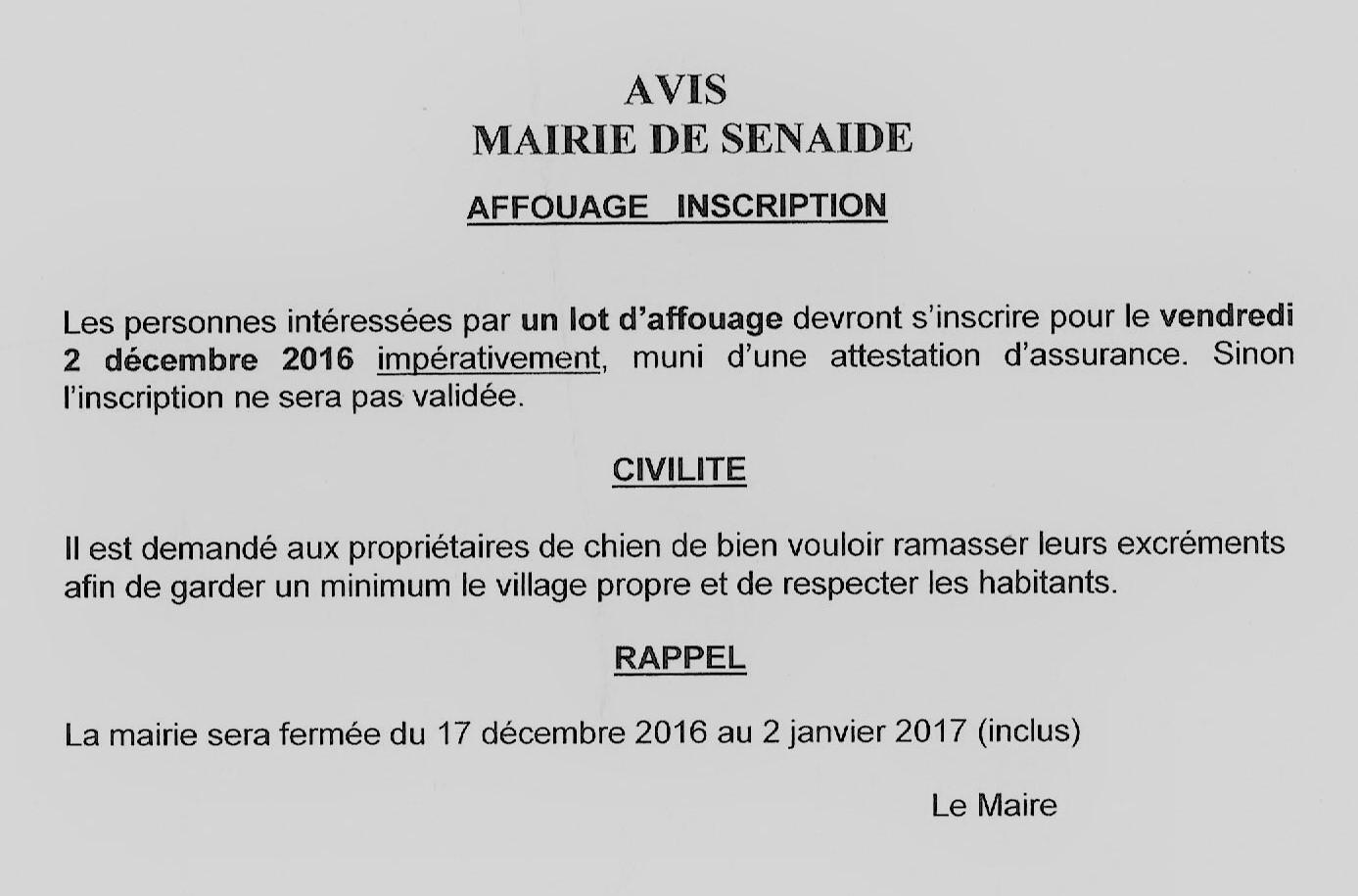 Mot du maire 29 novembre 2016